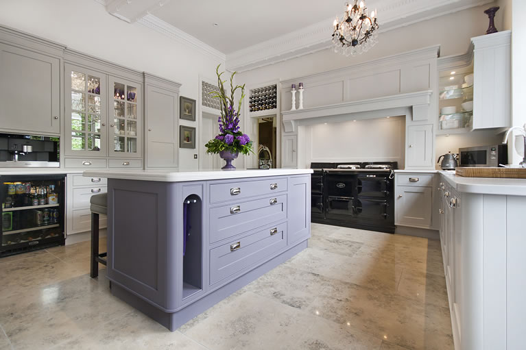 Elegant Hand Painted Kitchen In Equivilent Colours To Farrow U0026 Balls Pavillion Grey  And Brassica