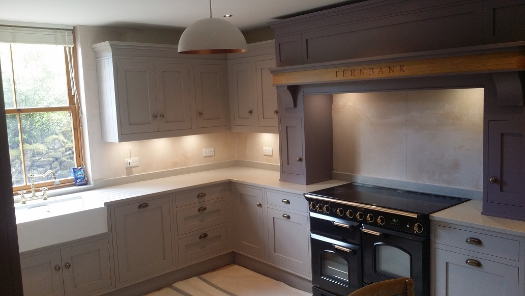 hand painted country kitchen cabinets in derbyshire